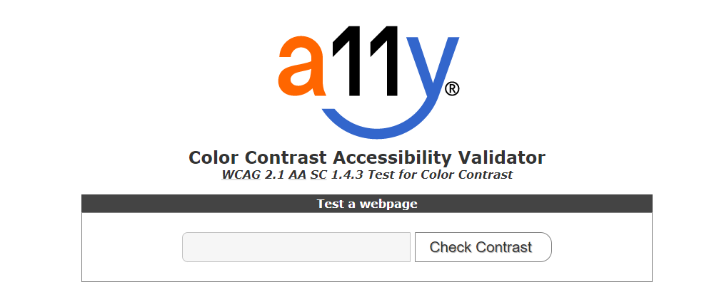 A11y Color Contrast Accessibility Validator logo and text box to submit web address and check for color contrast.