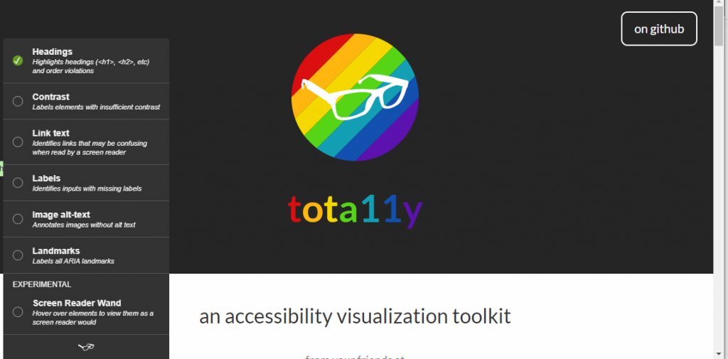 tota11y homepage with tota11y Accessibility Visualization Toolkit menu enabled showing options for headings, contrast, link text, image alt-text, landmarks and screen reader wand.